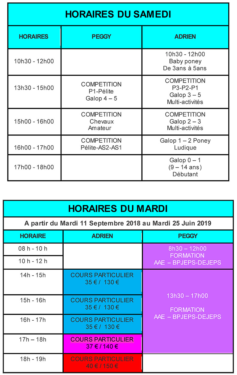 HORAIRES PFE
